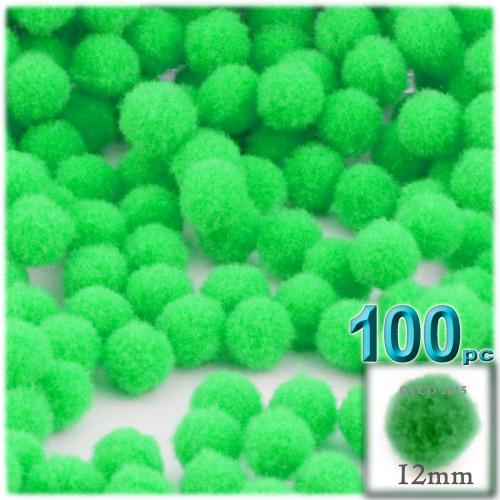 Acrylic Pom Pom, 12mm, 100-pc, Lime Green