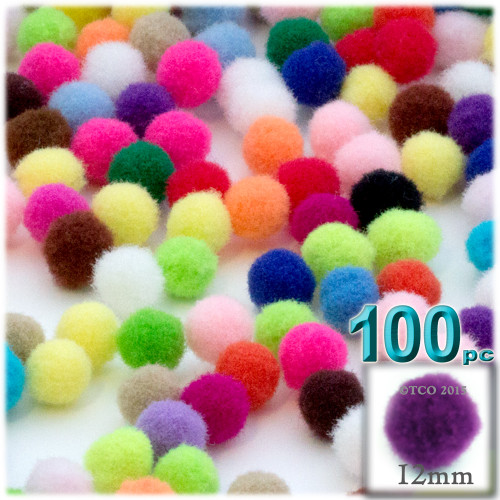 Acrylic Pom Pom, 12mm, 100-pc, Multi Mix