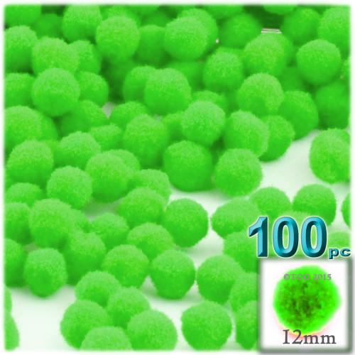 Acrylic Pom Pom, 12mm, 100-pc, Neon Green