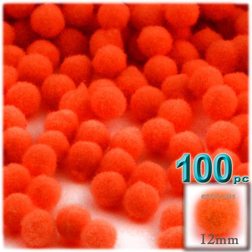 Acrylic Pom Pom, 12mm, 100-pc, Neon Orange