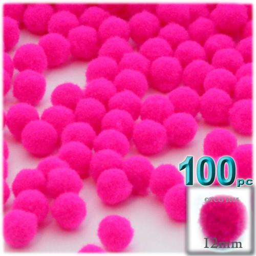 Acrylic Pom Pom, 12mm, 100-pc, Neon Pink