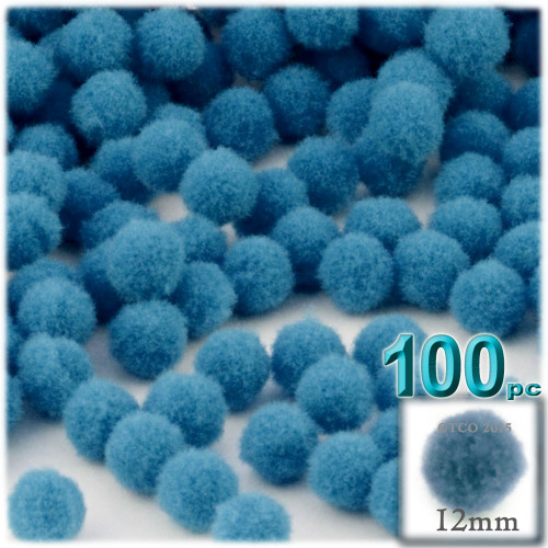 Acrylic Pom Pom, 12mm, 100-pc, Ocean Blue