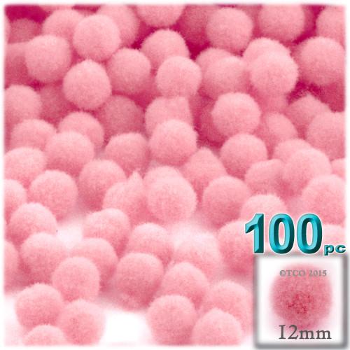 Acrylic Pom Pom, 12mm, 100-pc, Pink