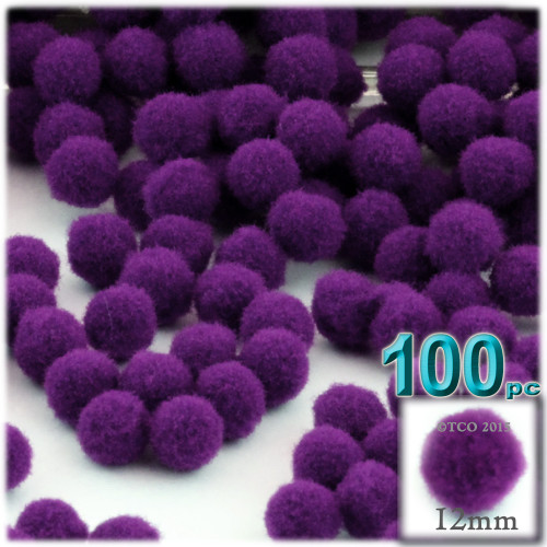Acrylic Pom Pom, 12mm, 100-pc, Purple