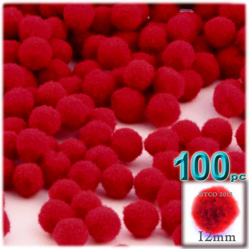 Acrylic Pom Pom, 12mm, 100-pc, Red