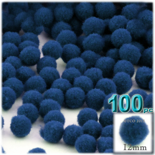 Acrylic Pom Pom, 12mm, 100-pc, Royal Blue