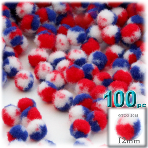 Acrylic Pom Pom, 12mm, 100-pc, Tri-Color Red White and Blue