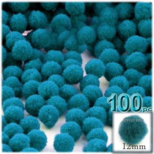 Acrylic Pom Pom, 12mm, 100-pc, Turquoise Blue
