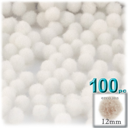 Acrylic Pom Pom, 12mm, 100-pc, White