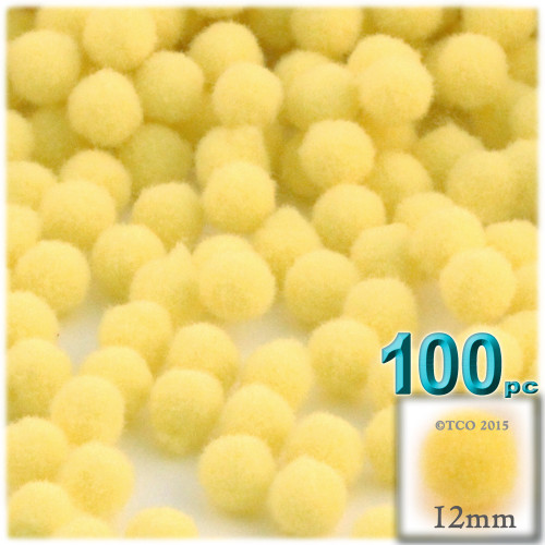 Acrylic Pom Pom, 12mm, 100-pc, Yellow