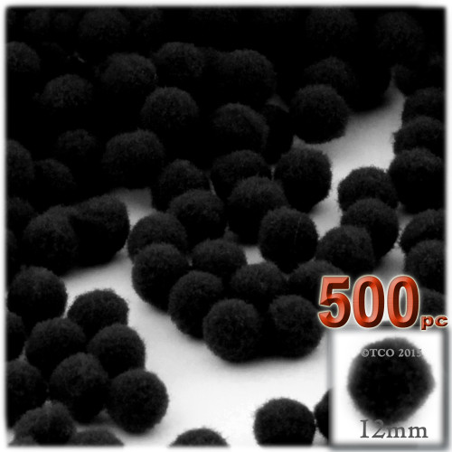 Acrylic Pom Pom, 12mm, 500-pc, Black