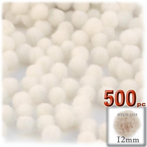 Acrylic Pom Pom, 12mm, 500-pc, Cream
