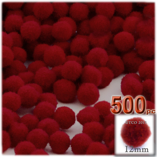 Acrylic Pom Pom, 12mm, 500-pc, Dark Red