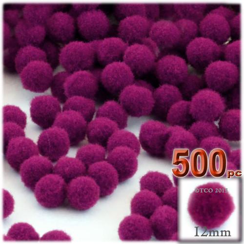 Acrylic Pom Pom, 12mm, 500-pc, Fuchsia