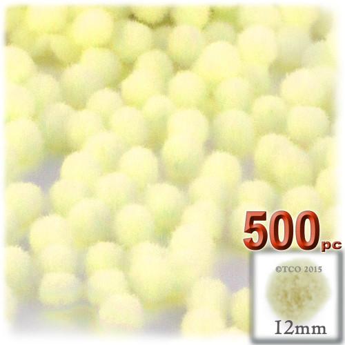 Acrylic Pom Pom, 12mm, 500-pc, Light Yellow