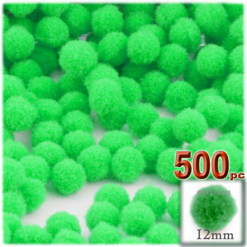 Acrylic Pom Pom, 12mm, 500-pc, Lime Green