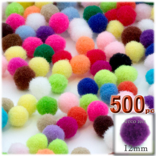 Acrylic Pom Pom, 12mm, 500-pc, Multi Mix
