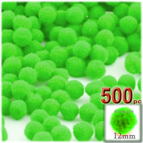 Acrylic Pom Pom, 12mm, 500-pc, Neon Green