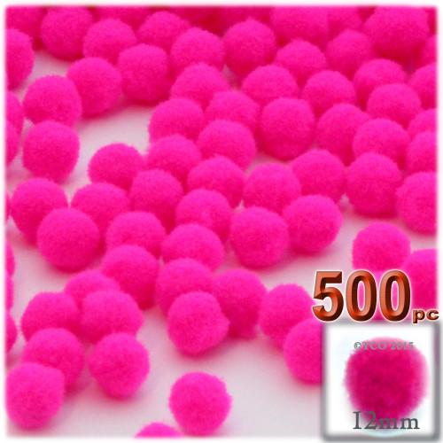 Acrylic Pom Pom, 12mm, 500-pc, Neon Pink