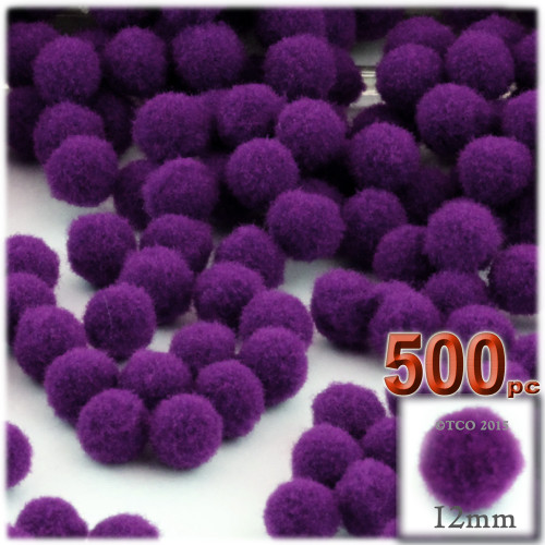 Acrylic Pom Pom, 12mm, 500-pc, Purple
