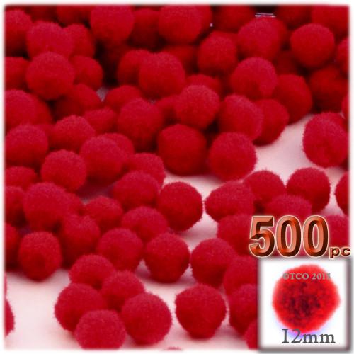 Acrylic Pom Pom, 12mm, 500-pc, Red