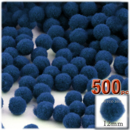 Acrylic Pom Pom, 12mm, 500-pc, Royal Blue