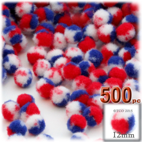 Acrylic Pom Pom, 12mm, 500-pc, Tri-Color Red White and Blue