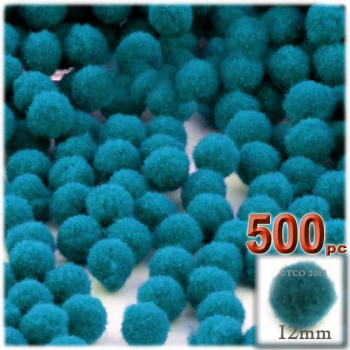 Acrylic Pom Pom, 12mm, 500-pc, Turquoise Blue