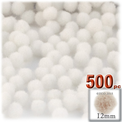 Acrylic Pom Pom, 12mm, 500-pc, White