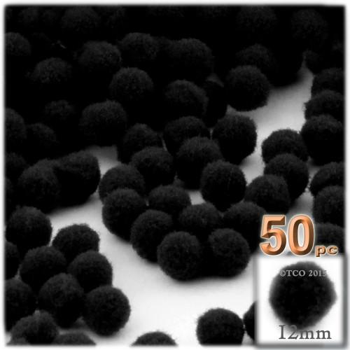 Acrylic Pom Pom, 12mm, 50-pc, Black