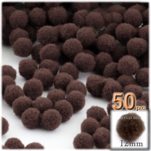 Acrylic Pom Pom, 12mm, 50-pc, Coffee Brown