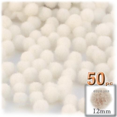 Acrylic Pom Pom, 12mm, 50-pc, Cream