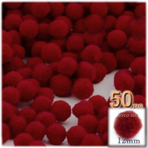 Acrylic Pom Pom, 12mm, 50-pc, Dark Red