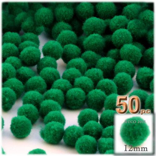 Acrylic Pom Pom, 12mm, 50-pc, Emerald Green