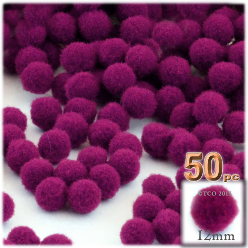 Acrylic Pom Pom, 12mm, 50-pc, Fuchsia