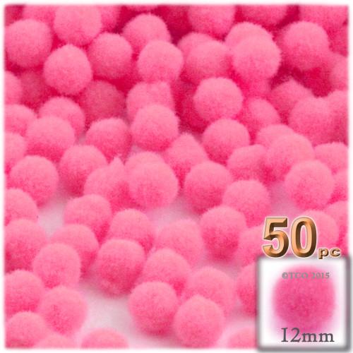 Acrylic Pom Pom, 12mm, 50-pc, Hot Pink