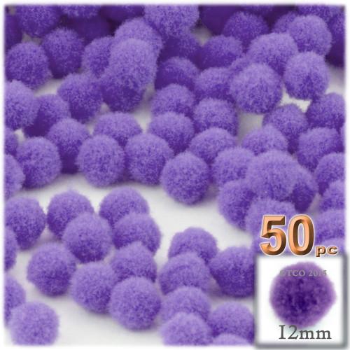 Acrylic Pom Pom, 12mm, 50-pc, Light Purple
