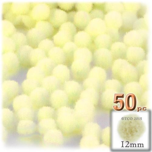 Acrylic Pom Pom, 12mm, 50-pc, Light Yellow