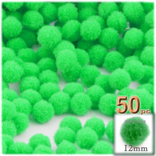 Acrylic Pom Pom, 12mm, 50-pc, Lime Green