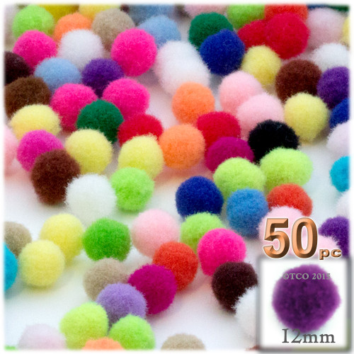 Acrylic Pom Pom, 12mm, 50-pc, Multi Mix