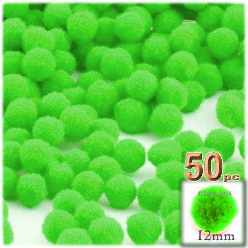 Acrylic Pom Pom, 12mm, 50-pc, Neon Green