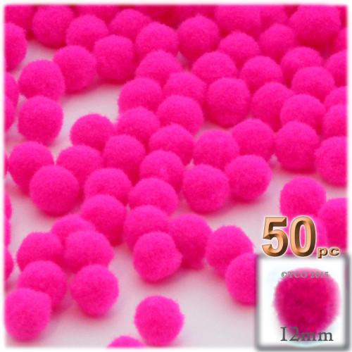 Acrylic Pom Pom, 12mm, 50-pc, Neon Pink