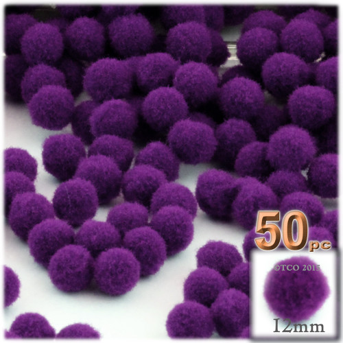Acrylic Pom Pom, 12mm, 50-pc, Purple