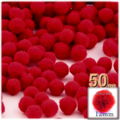 Acrylic Pom Pom, 12mm, 50-pc, Red