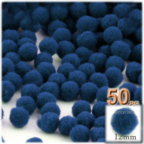 Acrylic Pom Pom, 12mm, 50-pc, Royal Blue