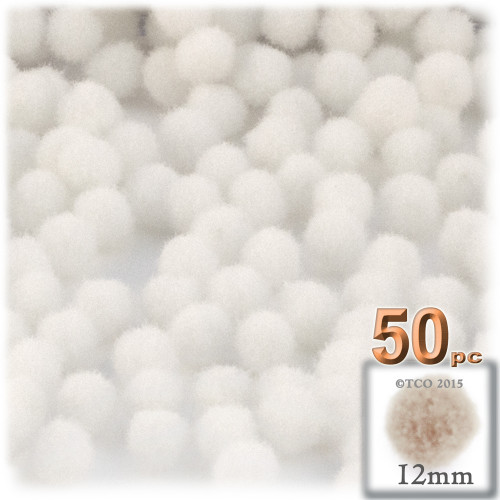 Acrylic Pom Pom, 12mm, 50-pc, White
