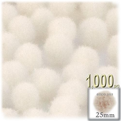 Acrylic Pom Pom, 25mm, 1,000-pc, Cream