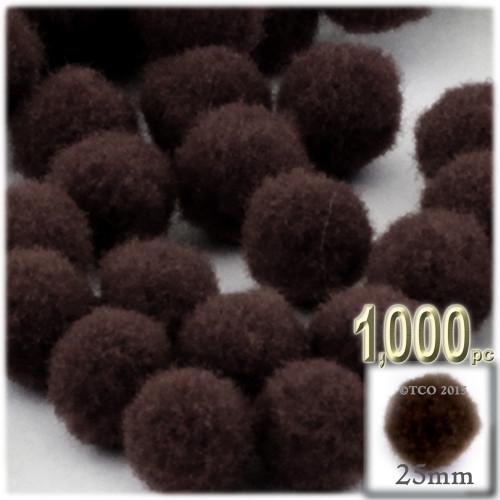 Acrylic Pom Pom, 25mm, 1,000-pc, Dark Brown