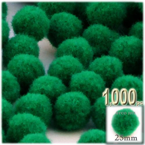 Acrylic Pom Pom, 25mm, 1,000-pc, Emerald Green