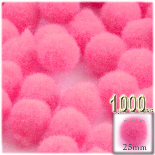 Acrylic Pom Pom, 25mm, 1,000-pc, Hot Pink